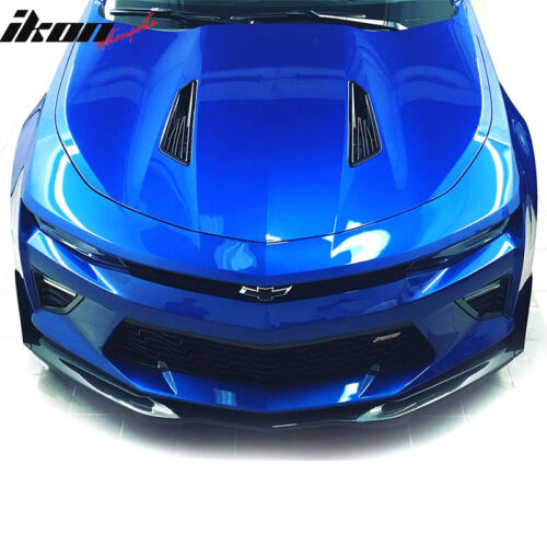 Fits 16-18 Chevy Camaro IKON V5 Style Front Bumper Lip With Splitters Black PU