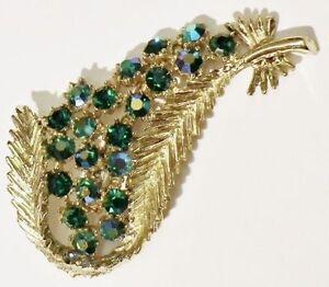 broche-bijou-vintage-couleur-or-relief-cristaux-borealis-vert-emeraude-3396