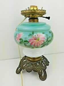 GWTW-Hand-Painted-Floral-Electric-Lamp-Green-White-Pink-w-Cast-Iron-Base-vtg