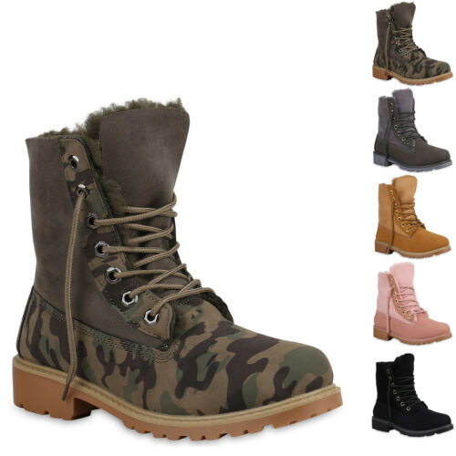 893425 Damen Stiefeletten Warm Gefüttert Worker Boots Profil Sohle New Look