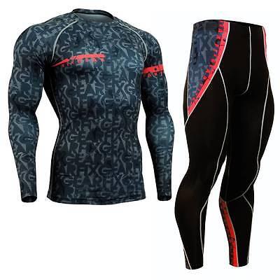 FIXGEAR CFL//P2L-B73 SET Compression Shirts /& Pants Skin Tights MMA Training Gym