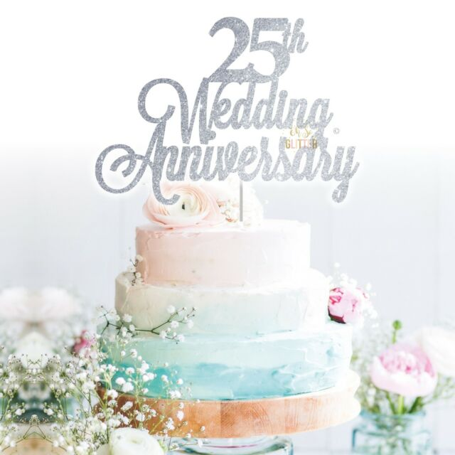 custom cake topper 25th wedding anniversary glitter personalised