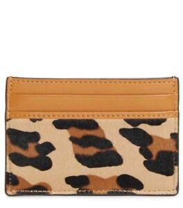 MCM Mini Leopard Calf Hair Slim Leather Brown Unisex Card ...