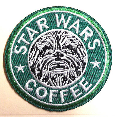 "Chewbacca STAR WARS Coffee Embroidered 3"" Green Patch- FREE S&H- (SWPA-SB-04)"