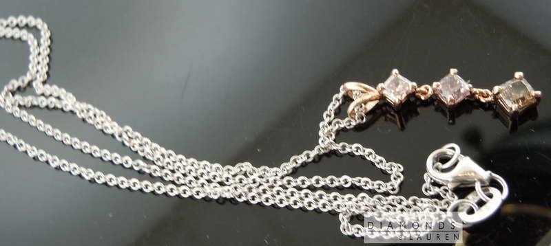 .71ctw Natural Pink Radiant Cut 3 Stone Diamond Pendant R7750 Diamonds By Lauren