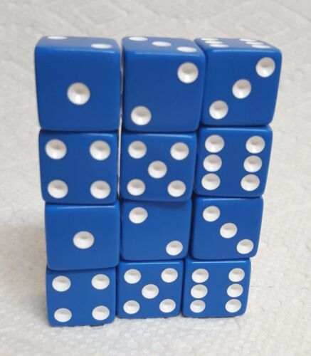 ON SALE NOW! DICE SALE 16mm OPAQUE BLUE WITH WHITE PIPS ONE DOZEN