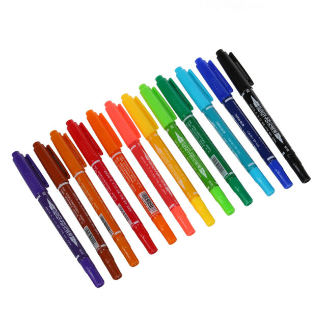 12 x Colors Double Ended Permanent Art Drawing Markers Highlighter Pen Offi T6F7