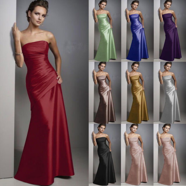 Long Satin Formal Evening Ball Gown Party Prom Bridesmaid Dress Stock Size 6-18