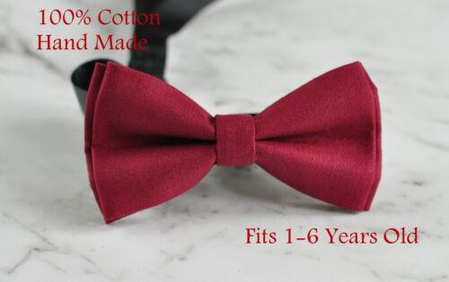 Boy Kids Baby 100/% Cotton DARK RUMBA RED Bow Tie Bowtie Wedding 1-6 Years Old