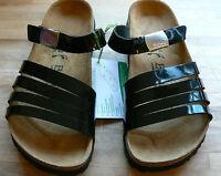 Betula By Birkenstock Burma Patent Sandal & Branded Buckle Black Size 5.5 Eu 39