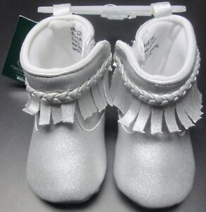 NEW BABY GIRLS LAURA ASHLEY SPARKLY SILVER MOCCASIN BOOTS SZ 3