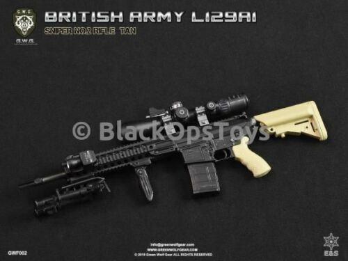 1//6 Scale toyGreen Wolf Gear FDE TAN British L129A1 Sniper Rifle Set Mint in Box