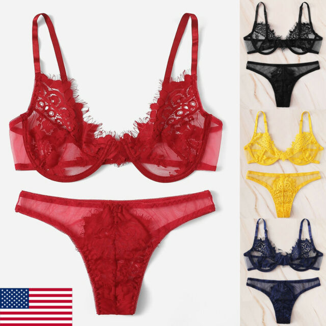 US Women Underwear Bra Sexy Lingerie G-string Nightwear Lace Clothes Set Fashion