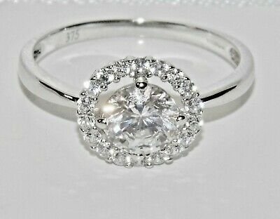 UK Hallmarked 9ct Yellow Gold 0.50ct Halo Cluster Ladies Engagement Ring size R