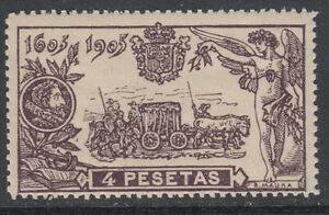 QUIJOTE-265-ANO-1905-4-PESETAS-NUEVO-CON-GOMA-ORIGINAL-SIN-FIJASELLOS