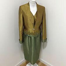 Vava LONDRES Dos Tonos Verde 2 Pieza Vestido Adornado chaqueta tamaño de Reino Unido 10 08172