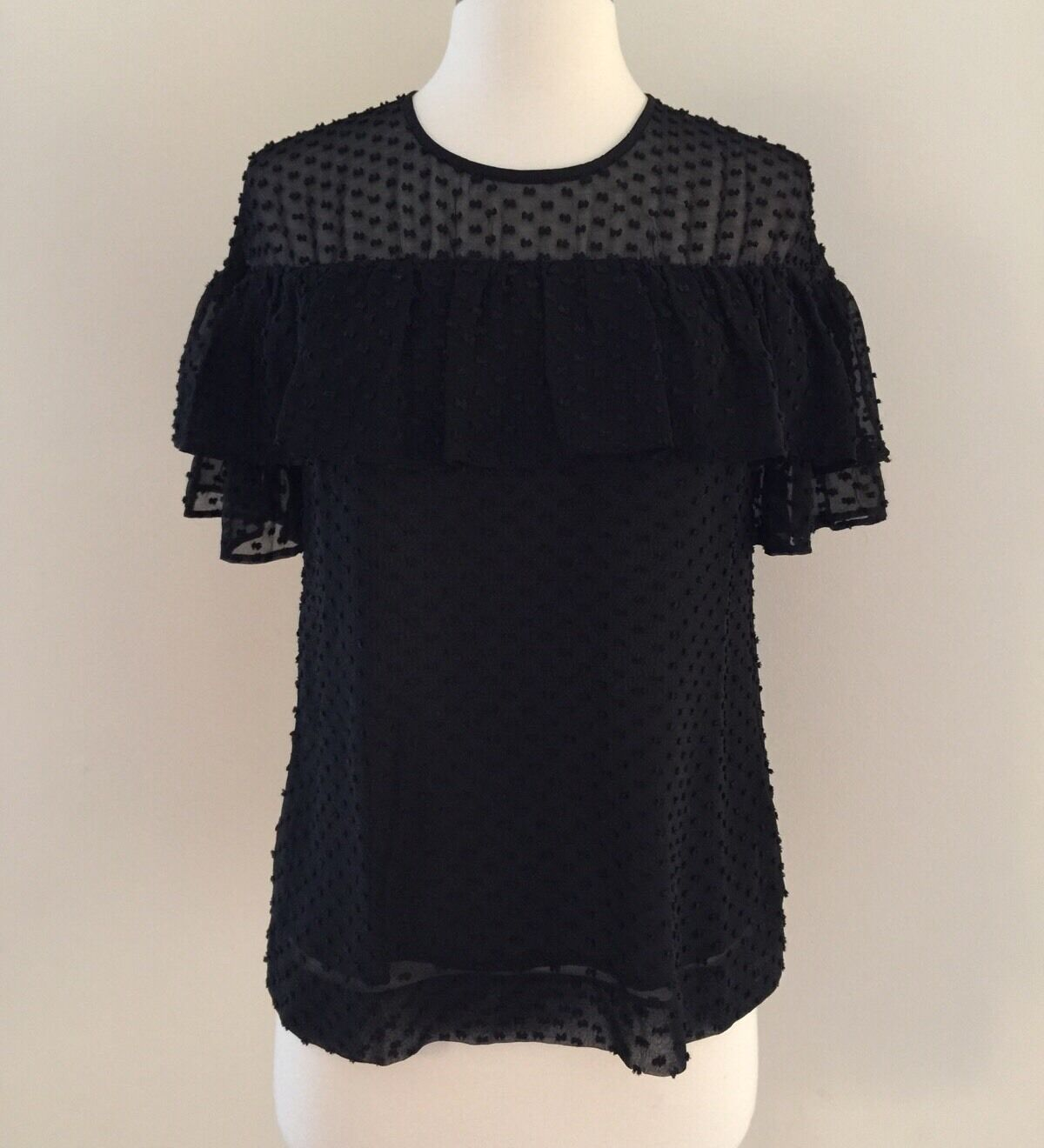 Nouveau Edie Top en Texturé Clip Dot Noir Taille 0 chemisier F8992  98 Sold out