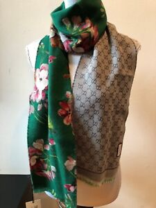 2dc6139fdbe NEW GUCCI GREEN BLOOMS REVERSIBLE GG 100% WOOL MiniOrophin SCARF ...