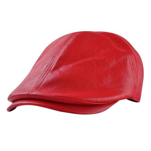 Unisexe Homme Béret Chapeau Casquette Plate Faux Cuir Rétro Automne Hiver Casual