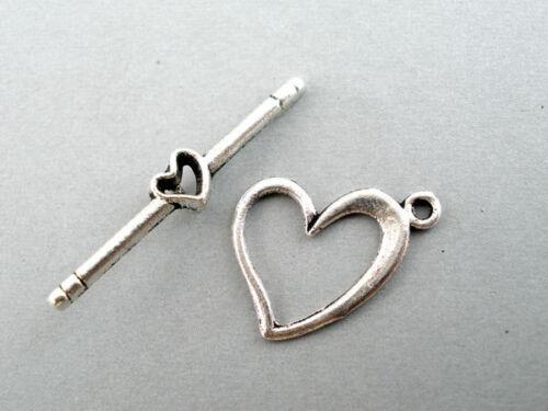 40 Set Antik Silber Herz Knebel Verschluss/Verbinder