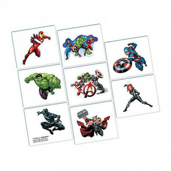 The Avengers Party Supplies - Avengers Party Favours Temporary Tattoos Pack of 8
