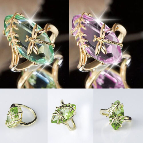 Vintage Women Dragonfly Crystal Finger Ring Wedding Engagement Jewelry Gift Hot