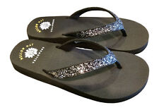 New Womens Yellow Box Suzanne Sandals Flip Flops Bling Sparkly Black Purple