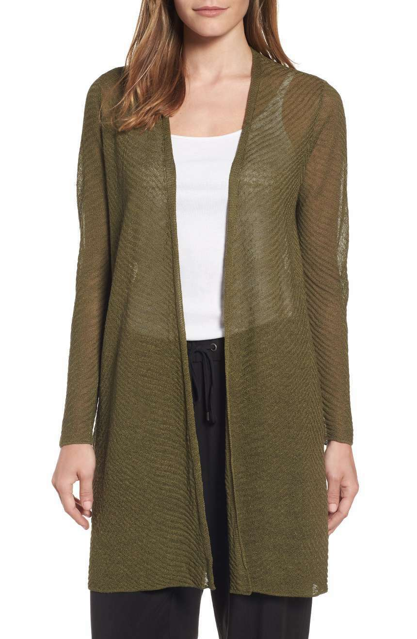 NEW EILEEN FISHER OLIVE SHEER HEMP HEMP HEMP TEXTURED SIMPLE OPEN FRONT CARDIGAN L  278 17ea40