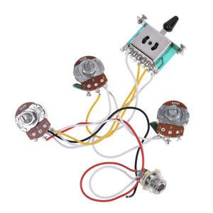 Guitare-electrique-Cablage-Harnais-pre-cables-Kit-Pour-Strat-parties-5-Way-500K-pots-2T1V