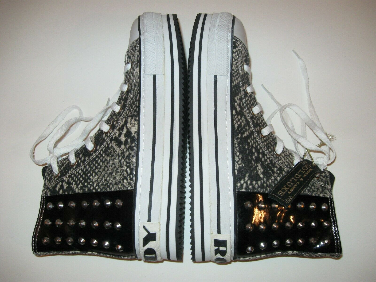 Rock Candy goldluxe Snake Skin Print Studded Platform Sneakers Sz 10 Tennis shoes