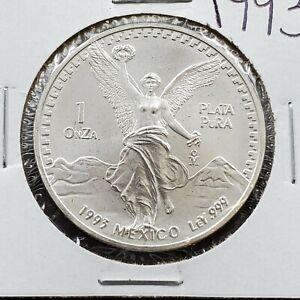 1993-Mo-1-oz-Onza-Mexico-Libertad-GEM-BU-UNC-Ley-999-Plata-Pura-Nice-Coin