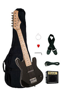 raptor 30 kids 1 2 size black electric guitar package with amp gig bag strap ebay. Black Bedroom Furniture Sets. Home Design Ideas