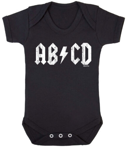 AB CD Funny Boys Girls BABY GROW Vest ACDC Style ROCK Music Band Baby BodySuit