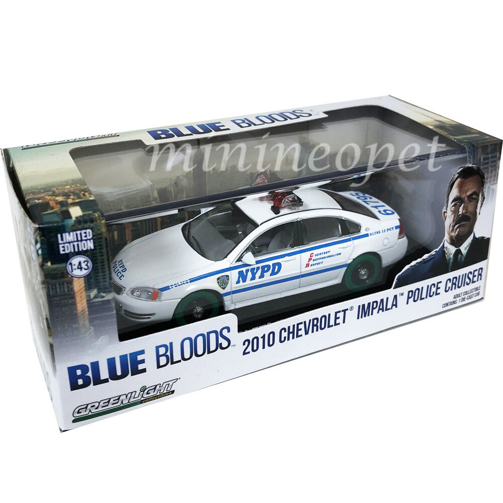 GREENLIGHT 86509 blueE BLOODS 2010 CHEVROLET IMPALA NYPD POLICE CAR 1 43 Chase