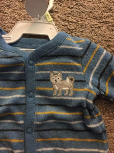 NWT CARTER/'S BABY PAJAMAS BLUE TERRY CLOTH SNAP STRIPED 9 Month