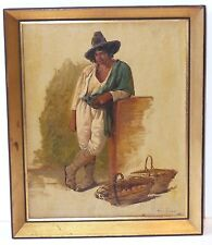 OLD ANTIQUE OIL PAINTING POTATO SELLER DUTCH-SPANISH SIGNED ART CIRCLE OF GOYA
