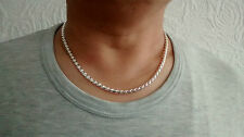 "Herringbone 20"" Silver Plated Chain No Stone Necklace & Gift Box Unisex Birthday"