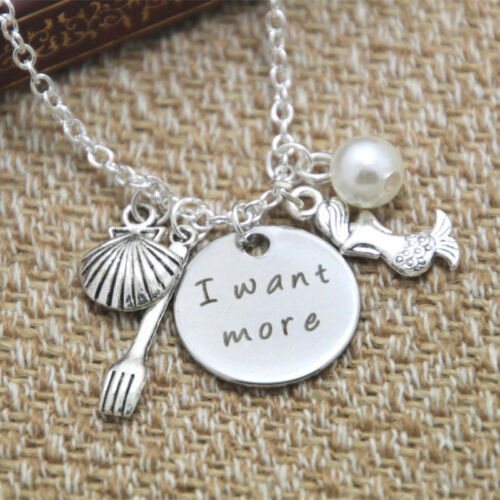 ARIEL THE LITTLE MERMAID I WANT MORE CHARMS NECKLACE SEASHELL FORK PEARL
