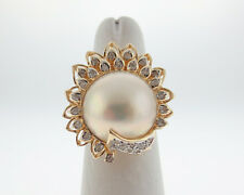 16mm Mabe Pearl Genuine Diamonds Solid 14k Yellow Gold Large Cocktail Ring