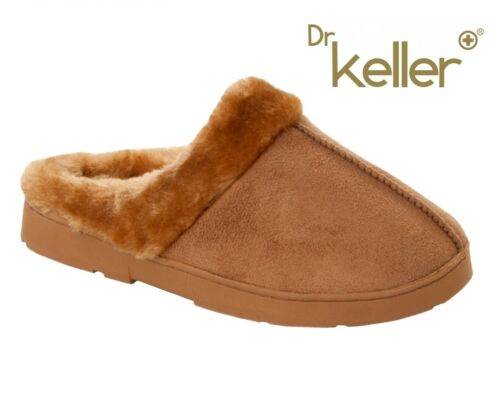 WOMENS DR KELLER TAN MEMORY FOAM FUR LINED SLIP ON SLIPPERS MULES LADIES SIZE
