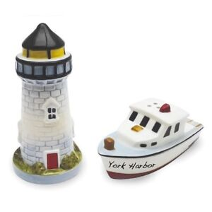 Image Is Loading Ceramic Beach Lighthouse Boat Salt Pepper Shakers Set