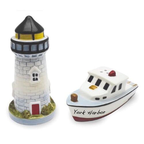Ceramic Beach Lighthouse Boat Salt Pepper Shakers Set