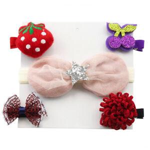 5Pcs Kids Baby Girl Hairpin Hairband Bow Barrettes Hair Clip Headband Set US