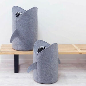 LN-SHARK-SHAPE-CLOTHING-STORAGE-BUCKET-LAUNDRY-BASKET-HOLDER-TOY-ORGANIZER-FA