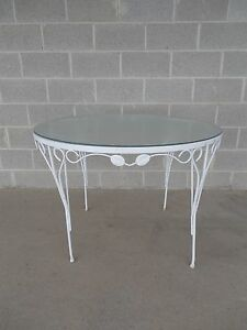 Details About Vintage Wrought Iron Woodard Style Round Gl Top Table 42 W X 29 H