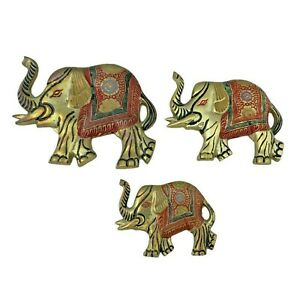 Set-of-3-Vintage-Painted-Brass-Elephant-Wall-Hangings-6-5-amp-4-India