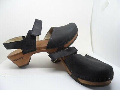 Woody Ronja Holz Schuhe Clogs Sandalen schwarz nero Leder biegsame Sohle Gr. 40   eBay