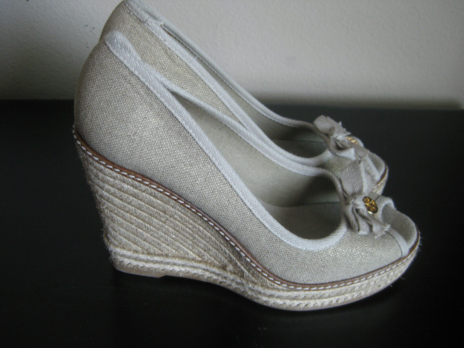 NEW IN BOX TORY BURCH BURCH BURCH JACKIE ESPRADILLE WEDGE LINEN SANDAL chaussures Taille 9.5 934cc5