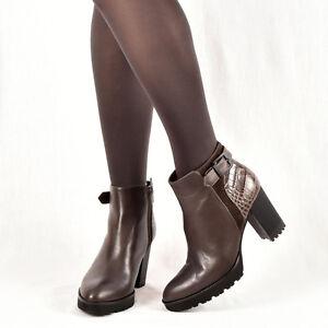 38 Damen Stiefeletten Braun Leder Neu Elegant 37 40 Boots 39 Gadea p8wSqd8