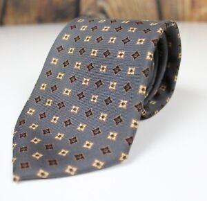 Burberry-London-Men-s-Silk-Neck-Tie-Silver-Gray-Gold-Geometric-Pattern